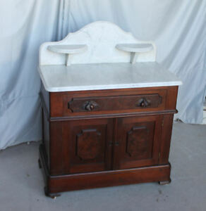 Antique Victorian Marble Top Commode – Carved Leaf Pulls