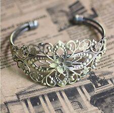 2PCS Brazaletes Pulsera Floral filigrana bronce antiguo #22725