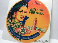 Atlas Air Maroc Vintage Style Travel Decal / Vinyl Sticker, Luggage Label