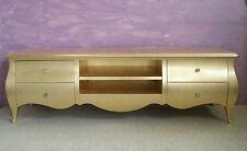 Porta tv/Living bombato/barocco foglia oro con pomelli christal swarovski