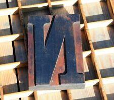 "huge letter: ""N"" rare wood type letterpress printing block woodtype font antique"