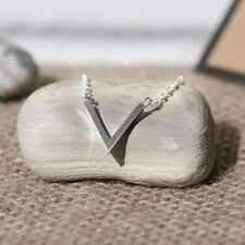Stainless Steel V Charm Necklace + Canvas Gift Bag