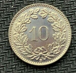 1957 Switzerland 10 Rappen Coin GEM UNC    High Grade  World Coin     #C914