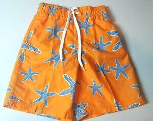 Kanu Surf Boys'  UPF 50+ Beach Swim Trunks Shorts Starfish Orange Size L NWOT
