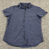 Banana Republic Slim Fit Mens Large Short Sleeve Button Up Striped Pocket Shirt