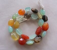 """14"""" Strand Mixed Gemstone Faceted Puffed Oval Beads 12mm-17mm Chalcedony Agate"""