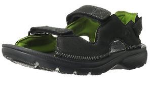 CROCS TOOKALI TIKALI LEATHER SWIFTWATER SLIP ON SANDAL SHOE~Black Green~M 13~NWT