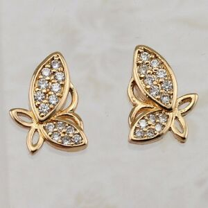 Hot Nice Butterfly White CZ Gems Jewelry Yellow Gold Filled Stud Earrings h2684