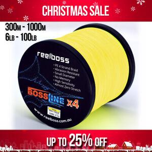 ReelBoss Yellow Braid Fishing Line 8lb 10lb 12lb 15 20lb 30lb 50lb 80lb 300-500m