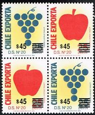 CHILE 1991 OVPD STAMP # 1359/60 MNH TWO SERIES  BLOCK OF FOUR FRUIT GRAPES APPLE