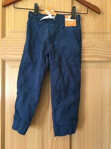 NWT Gymboree Boys Pull on Pants Jersey Lined Jogger Blue 2T,3T,8