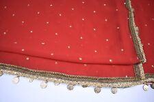 Indian Red & Gold Women's Scarf Dupatta Wedding / Mehndi SALE WAS £47.50 NOW £42