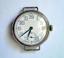 Vintage WWI Sterling Silver Trench Watch Swiss Made 16 Jewels Wire Lugs WORKS