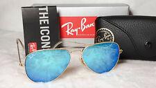 Ray-Ban RB3025 AVIATOR BLUE FLASH LENS LENSES Gold Matte Frame Unisex Cool Beach