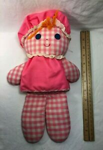 """12"""" VINTAGE FISHER PRICE LOLLY DOLLY PINK RATTLE 420 STUFFED ANIMAL PLUSH TOY"""