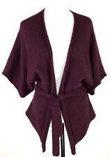 BEBE Women Open Front Cardigan Sweater XS Burgundy Dolman Sleeve Belt Wool Blend
