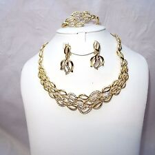 Beautiful Flower Gold Crystal Flower Costume Fashion Party Bridal Necklace Set