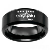 Washington Capitals NHL Team Rings Stainless Steel Men's Band Size 6-13