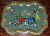 "28"" LARGE TOLEWARE TRAY PEACOCK FOUNTAIN FLOWERS HAND PAINTED SIGNED"