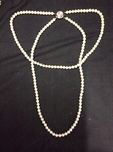 3 Rosita Pearls Pearl Necklaces, 2 Double Necklaces 1 Single, Includes Case