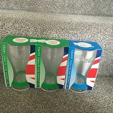 MCDONALDS COKE COCA COLA IN VETRO X 3 Bundle OLIMPIADI Box con Braccialetto Blu Verde