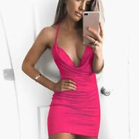 Women's Sassy Pink Low Cut Strappy Mini Cocktail Party Dress