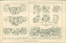 Antique Architects Print Examples of Medieval Woodcarving wells Coventry etc