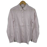 Uniqlo Womens Button Up Shirt Size Small Long Sleeve Linen Pink Good Condition
