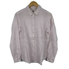 Uniqlo Mens Button Up Shirt Size Small Long Sleeve 100% Linen Pink Good Conditio