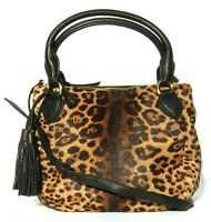 J.CREW Peyton Leopard Hair Calf Black Leather E0211 Crossbody Bag Satchel $595
