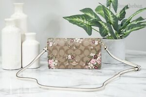 Coach C0035 Anna Signature Canvas Evergreen Field Floral Clutch Crossbody Bag