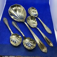 Vintage Set of Scalloped Shell Spoon With 4 Small Spoons EP Stamped By H P & Co