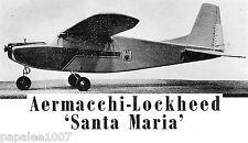 "Model Airplane Plans (FF-RC): Aermacchi-Lockheed Santa Maria ½A 35"" Semi-Scale"
