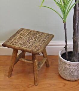 Small Wooden Vintage Stool Urban Rustic Seat Hand Carved Footstool Adults Kids