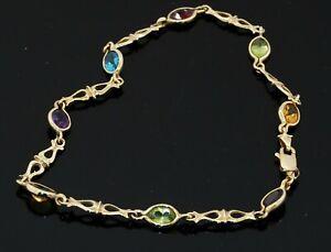 14K gold 4.0CTW colorful peridot, garnet, citrine, amethyst & Blue topaz anklet