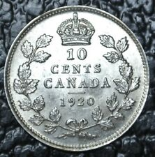 OLD CANADIAN COIN 1920 - 10 CENTS - .800 SILVER - George V - Nice Coin - LUSTRE