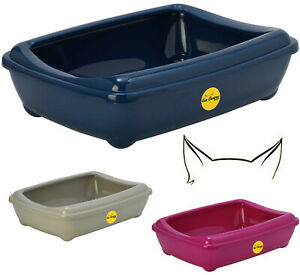 Large Cat Litter Tray + Rim 3 Colours Quality Box Toilet Scoop Loo CatCentre®