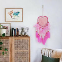 AU_ KE_ Dream Catcher Pink Wall Hanging Decoration Heart Beads Home Ornament Fea