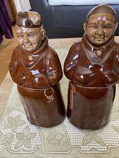 More details for old vintage mead monk bottles, pair ceramic