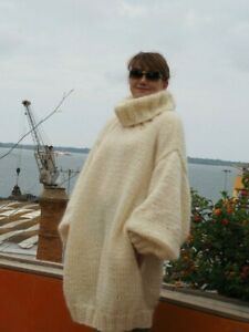 Oversize Ivory  Handmade  Mohair T-neck  Sweater with pockets  by LanaKnittings