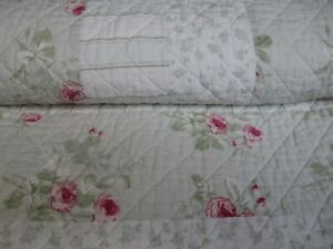 Rachel Simply Shabby Chic Patchwork Green Pink 3pc Quilt Shams Set - Full/Queen