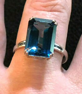 Sterling Silver Ring London Blue Topaz Blue Diamonds JTV Sz 9 4.8g Rhod925 #1304