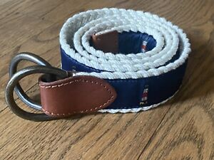 Polo Ralph Lauren Navy Nautical Lighthouse Preppy Braided Belt -42 inches