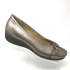 ECCO Abelone Wedge Silver Ballet Loafer Buckle Womens Shoe SIZE 41 / 10 - 10.5