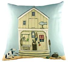 "Sally Swannell Beach Hut Seaside Sand Evans Lichfield Filled Cushion 17"" - 43cm"