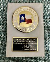 """Vintage Harris County Precinct 3 Service Award Marble Base Paperweight 3""""x2"""""""