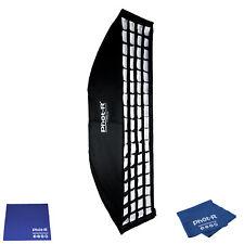 Phot-R 30x120cm Bowens Softbox Speedring Honeycomb Grid Microfibre Chamois Cloth