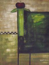 Funky cane dipinto ad olio su tela moderno e contemporaneo-che Carini stanza VERDE ORIGINALE
