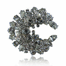 14k white Gold GF solid brooch pin with Swarovski crystals