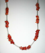 Vintage FETISH NECKLACE Coral Chunks - Liquid Silver